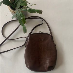 EUC Fossil Chocolate brown leather Crossbody bag